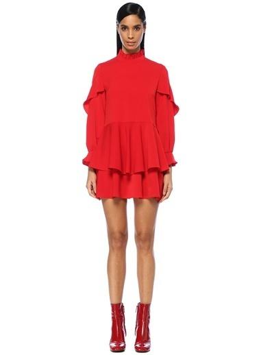 Jovonna Izzah Dik Yaka Volanlı Mini Elbise Kırmızı